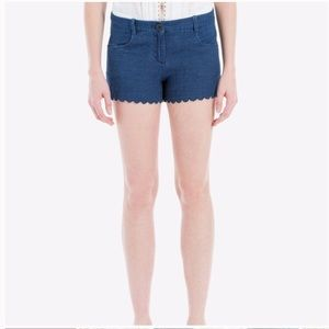 Max Studio Scallop Hem Denim Cotton Shorts